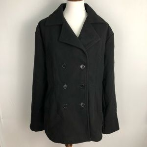 Meaneor New Plus Size Black Lined Pea Coat